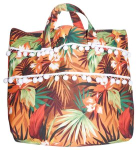 Lisa Nieves Canvas Floral Summer Casual Print Tote in orange green copper