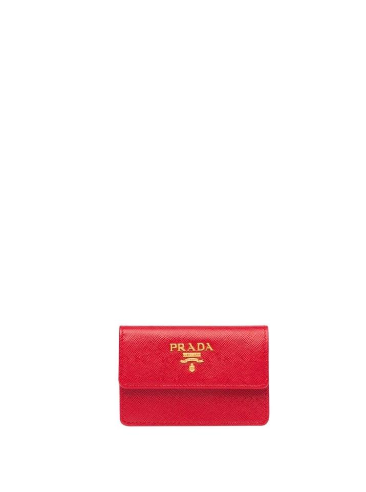 a7f6f8cd658 Prada Fire Engine Red Business Card Holder Card Holder Wallet - Tradesy