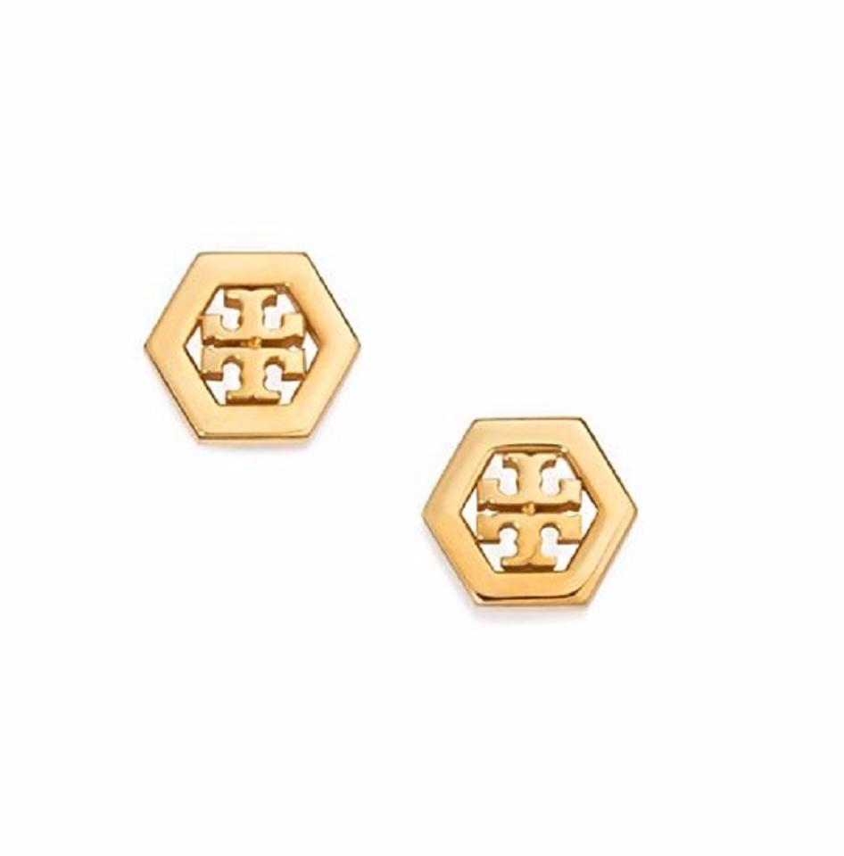 Tory Burch 31155532 Hex Logo Stud Gold Tone Post Earrings New