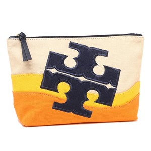 Tory Burch Tory Burch Beach Logo Canvas Cosmetic Case in Natural Royal Navy Cassi