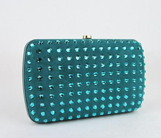 Gucci Broadway Suede Evening Turquoise 4460 Clutch Image 1