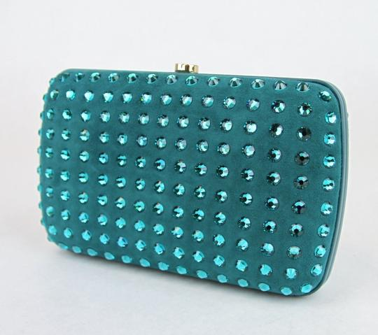 Gucci Broadway Suede Evening Turquoise 4460 Clutch Image 2