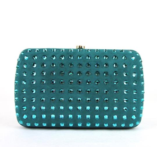 Gucci Broadway Suede Evening Turquoise 4460 Clutch Image 3