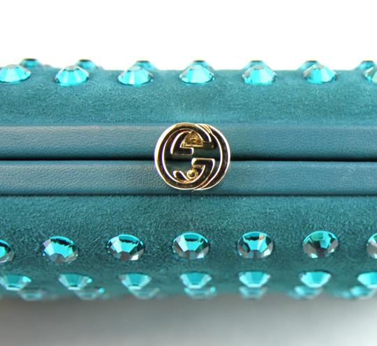 Gucci Broadway Suede Evening Turquoise 4460 Clutch Image 6