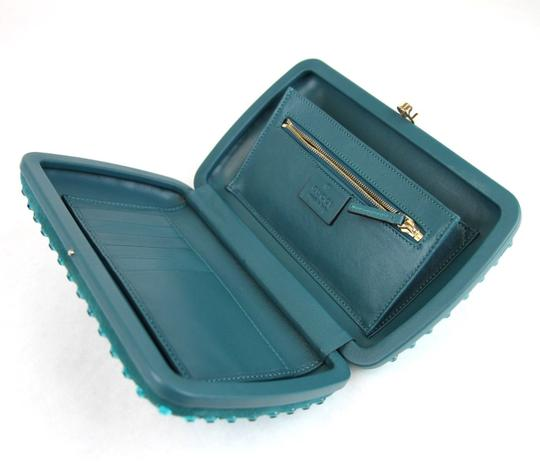 Gucci Broadway Suede Evening Turquoise 4460 Clutch Image 8