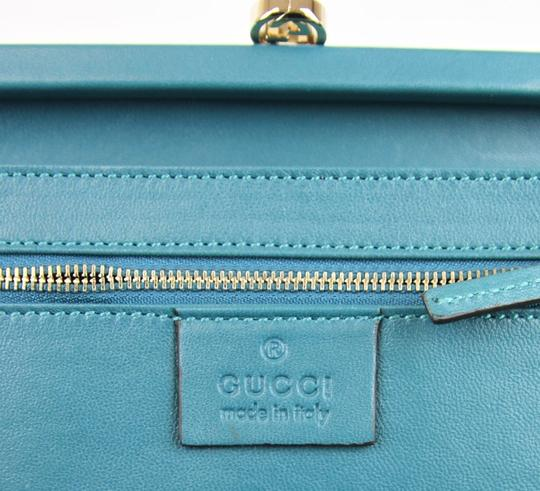Gucci Broadway Suede Evening Turquoise 4460 Clutch Image 9
