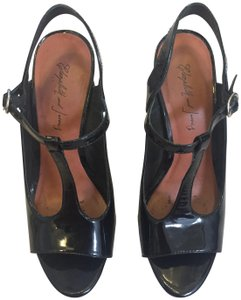 Elizabeth and James Patent Leather T-strap Platform Stiletto Open Toe Black Pumps