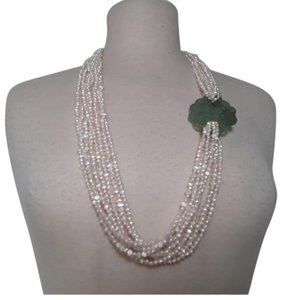 No label Fresh Water Pearls Carved Chinese Jade Multistrand