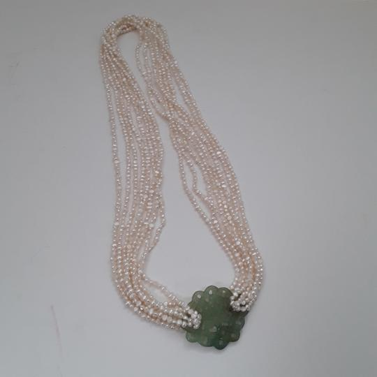 No label Fresh Water Pearls Carved Chinese Jade Multistrand Image 1