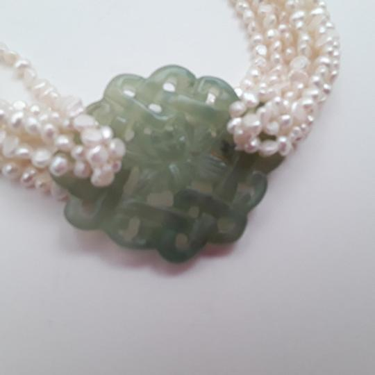 No label Fresh Water Pearls Carved Chinese Jade Multistrand Image 2
