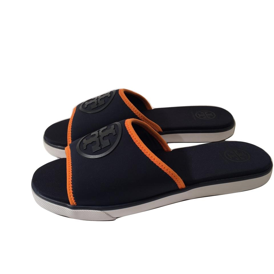 9b46fe61a682a9 Tory Burch New Navy Blue Neoprene Logo Slide with Box Sandals Size US 7  Regular (M
