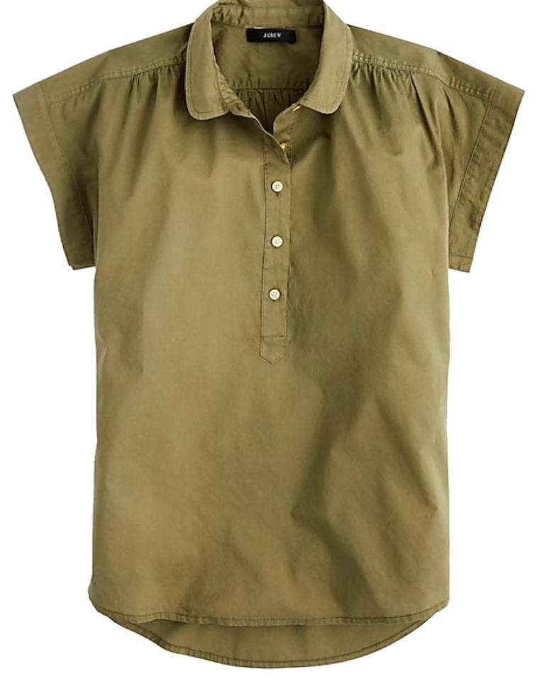 J.Crew Olive Green Collared Popover In Garment Dyen Cotton Poplin ... a3fbeba6f