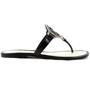 Tory Burch Tb Miller Flip Flop Logo Black / White Sandals