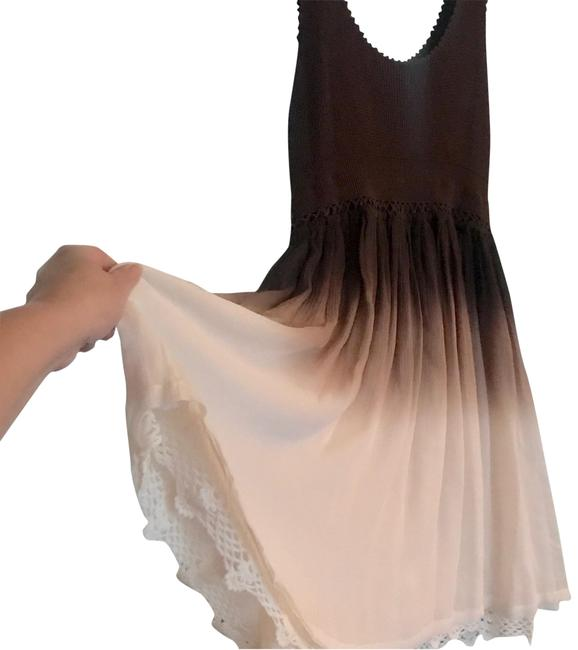 Item - Brown and Cream W Crocheted Tank Top W/Layered Pmbré Chiffon Full Skirt Mid-length Short Casual Dress Size 12 (L)