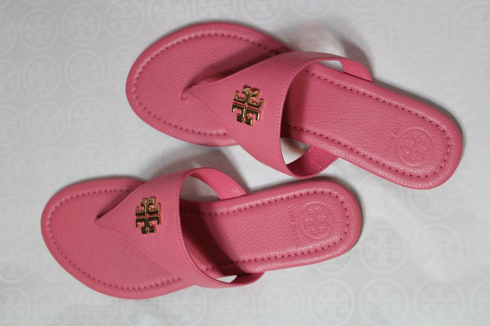 305053e90 Tory Burch Pink New Leather Thong Flats Flip Box Sandals Size US 8 ...