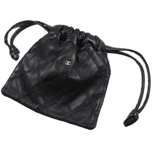 Chanel Vintage Leather Luxury Limited Edition Summer Wristlet in black