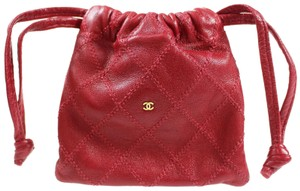 Chanel Vintage Leather Luxury Limited Edition Summer Wristlet in Red