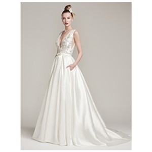 Maggie Sottero Ivory/Pewter Accents Satin Glamour -- Margot By and Midgley Modern Wedding Dress Size 8 (M)