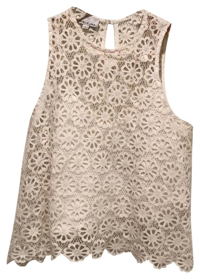 Miguelina Ivory Cream White Floral Crochet Cropped Tank Topcami