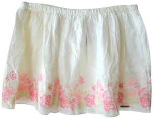 Abercrombie & Fitch Summer Cotton Floral Mini Skirt white
