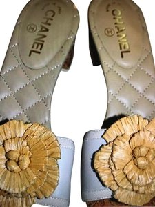 38f7ab5760f Chanel Beige and Straw Camellia Flower With Cork Heel Sandals