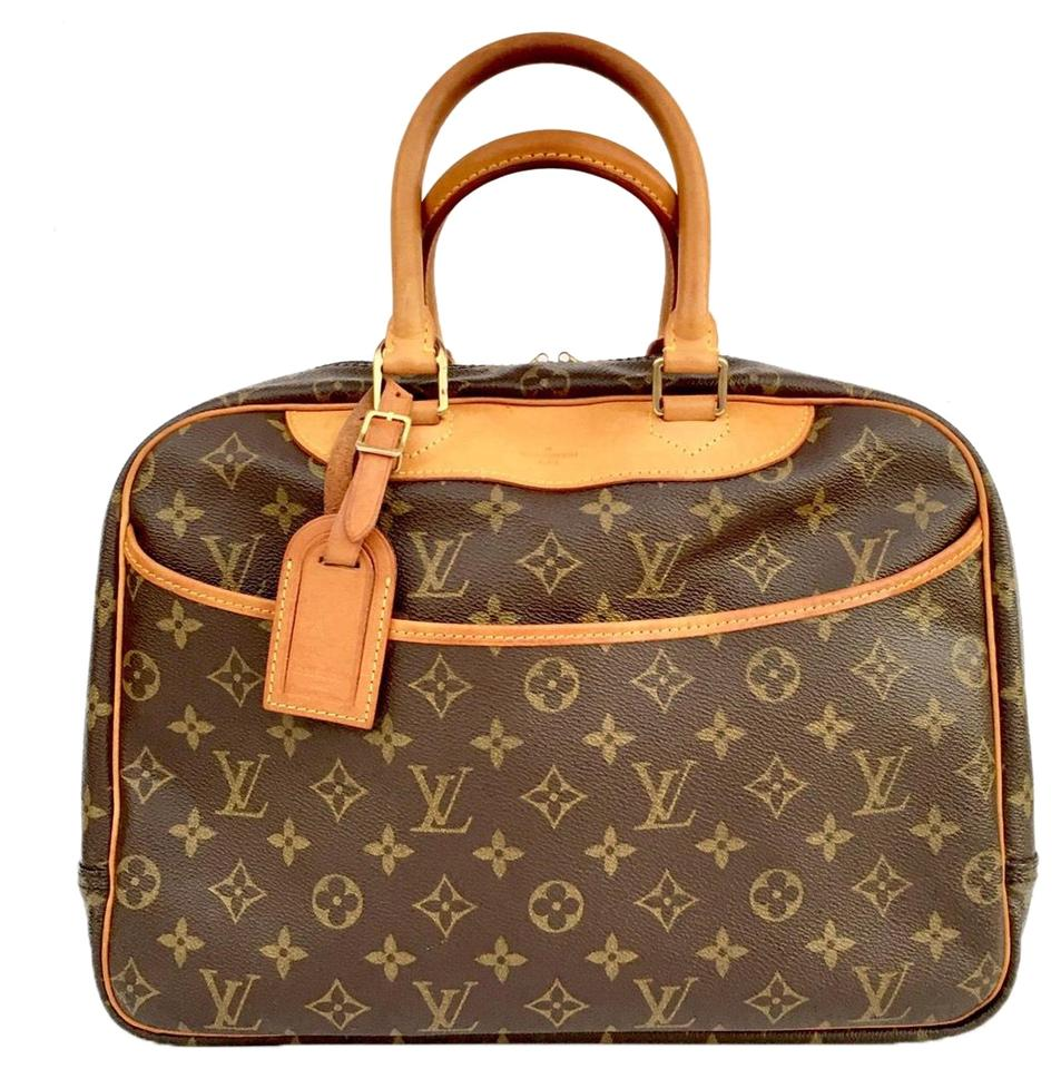 8b0608843bc1 Louis Vuitton Deauville Monogram Cosmetic Vanity Case Satchel Brown Canvas  Weekend Travel Bag
