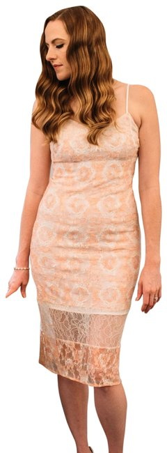Item - Pink and Cream Mid-length Cocktail Dress Size 6 (S)