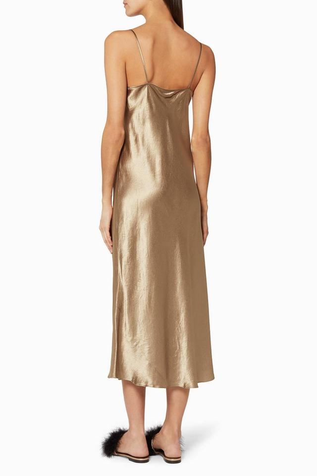 a2abe2dd0b6e9 Vince Gold Satin Slip Long Casual Maxi Dress Size 12 (L) - Tradesy
