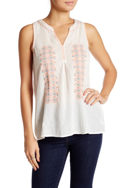 Item - Porcelain White Marl Embroidered Gauze Small Tank Top/Cami Size 6 (S)