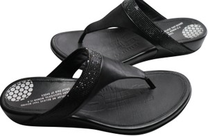 FitFlop black leather with Black Jet stones & leather footbed Sandals