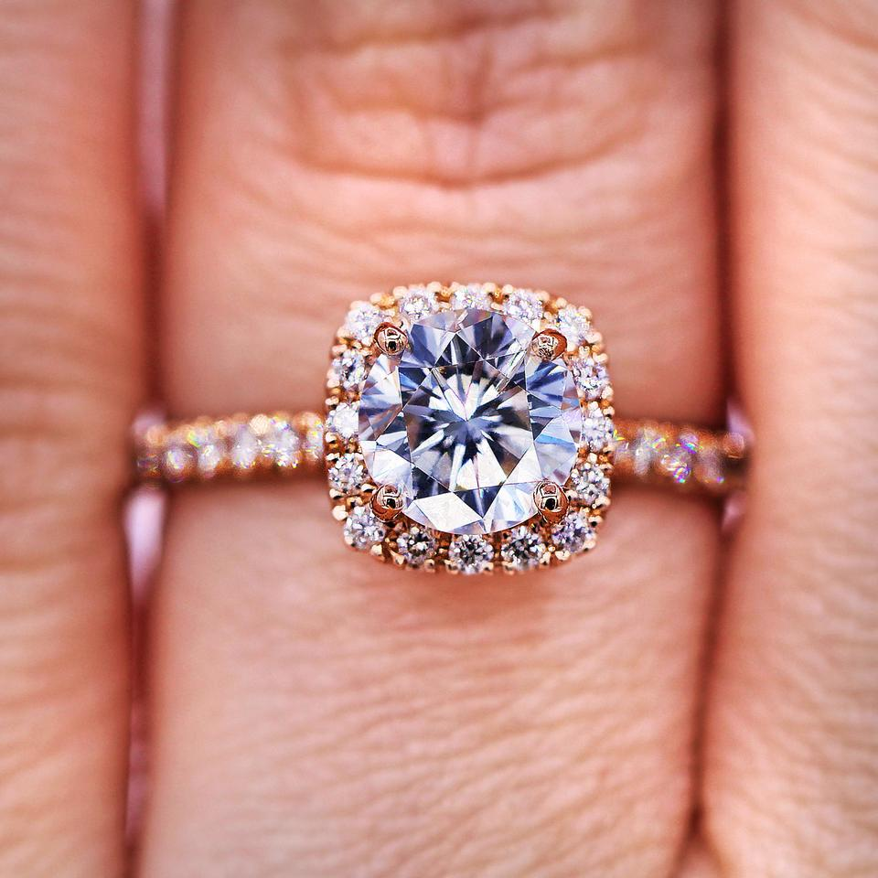 53c9d4a9b65 Delicate Rose Gold Halo Diamond Engagement Ring - Tradesy