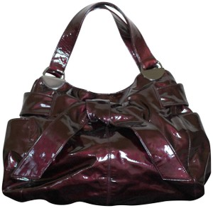 Kooba Patent Leather Gunmetal Hardware Tote Knotted Bow Hobo Bag