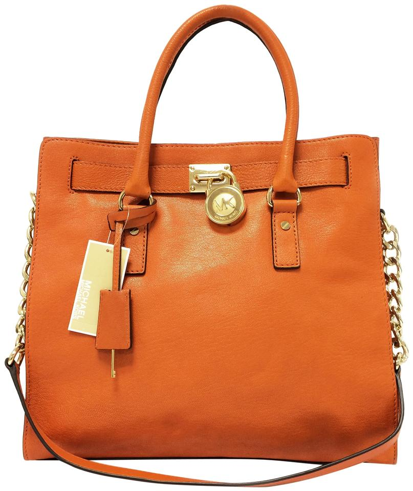 428ece8dc16a MICHAEL Michael Kors Hamilton Leather North South Tote in Tangerine Image 0  ...