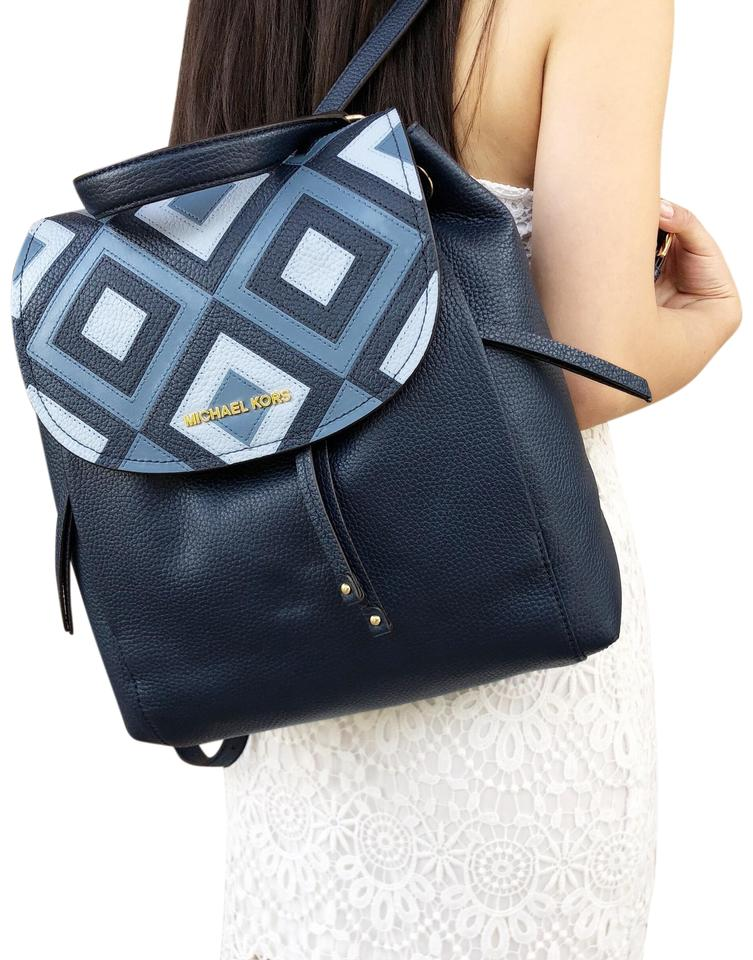 382832e2f3b0 Michael Kors Backpack Riley Large Navy Pale Blue Leather Tote - Tradesy