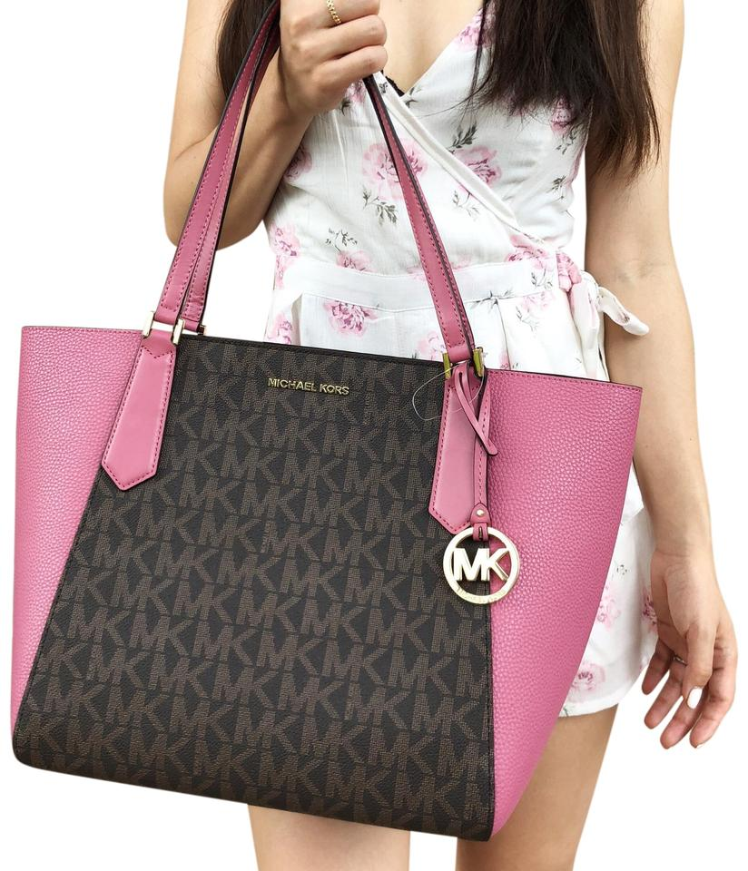 6071af0429de Michael Kors Kimberly Large Brown Mk Tulip Pink Leather Tote - Tradesy