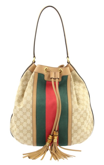 Item - Rania Beige and Brown Gg Canvas Hobo Bag