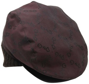 Dolce&Gabbana D&G Logo Men's Newsboy Hat with Leather Brim and Beanie Rib