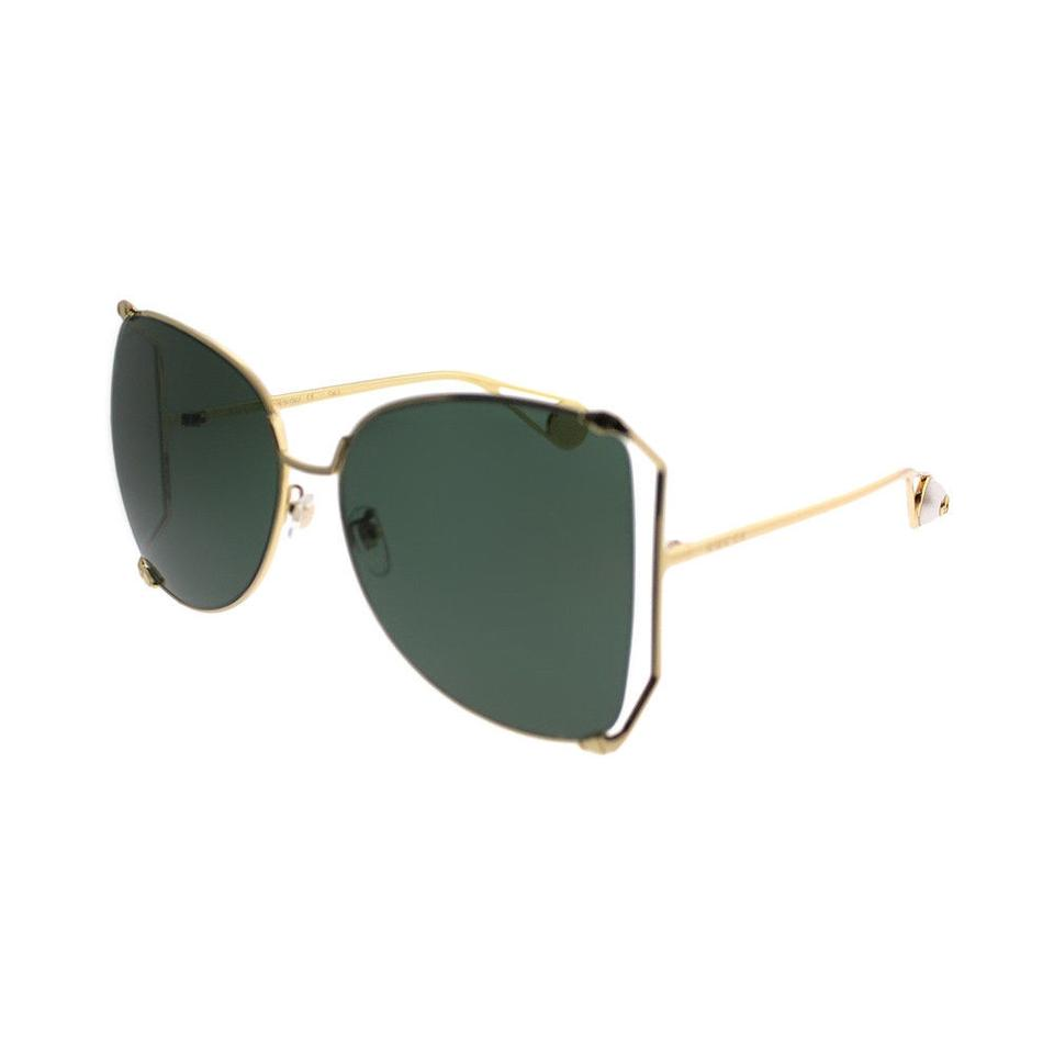 a858b96be4 Gucci Gold Gg0252s 005 Butterfly Frame Green Lenses Sunglasses - Tradesy