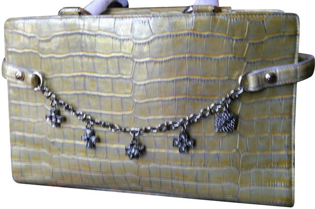 Item - Like A Charm Chartreuse Embossed Leather Satchel