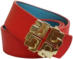 Tory Burch Reversible Logo Belt Red/Turquoise