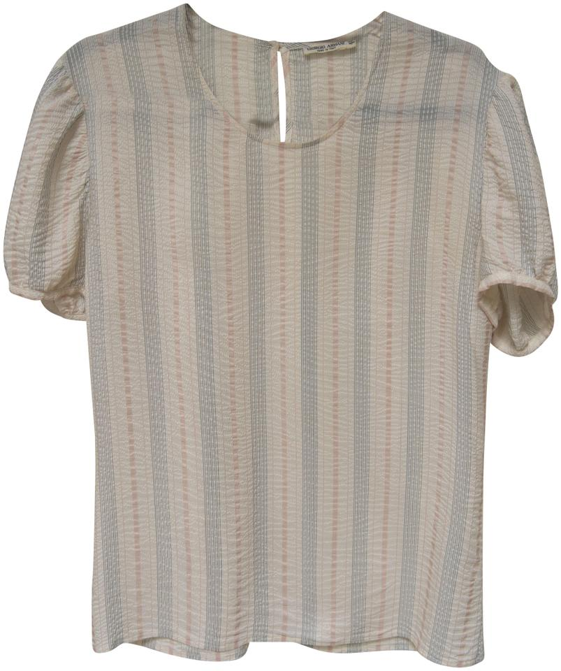 e761fb7fef4db Giorgio Armani Dryclean Only Silk Short Sleeves Loose Fit Vintage Top Cream  with pastel stripes Image ...