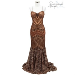 Terani Couture Brown O1 Designer Medium M Lace Sequin Wed Traditional Wedding Dress Size 8 (M)