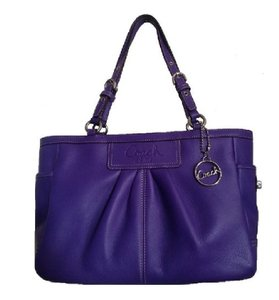 Coach Leather New Tote in Ultraviolet Purple/Silver