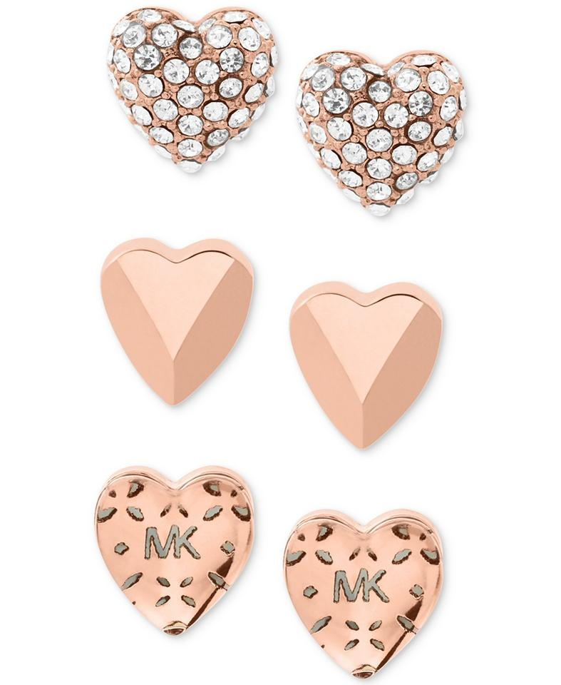 fb8ee92281cc Michael Kors Rose Gold-tone 3-pc. Set Pavé Heart Stud Earrings - Tradesy