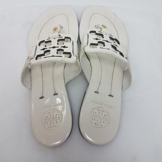 f3f2875d5 Tory Burch Miller Reva Logo Patent Leather Gold Hardware White Sandals  Image 5