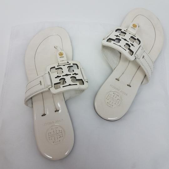 a79b41f2b Tory Burch Miller Reva Logo Patent Leather Gold Hardware White Sandals  Image 6