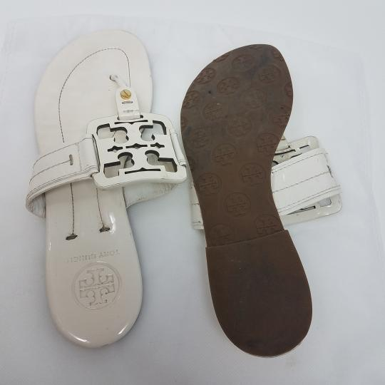 ca8f1078d Tory Burch Miller Reva Logo Patent Leather Gold Hardware White Sandals  Image 7