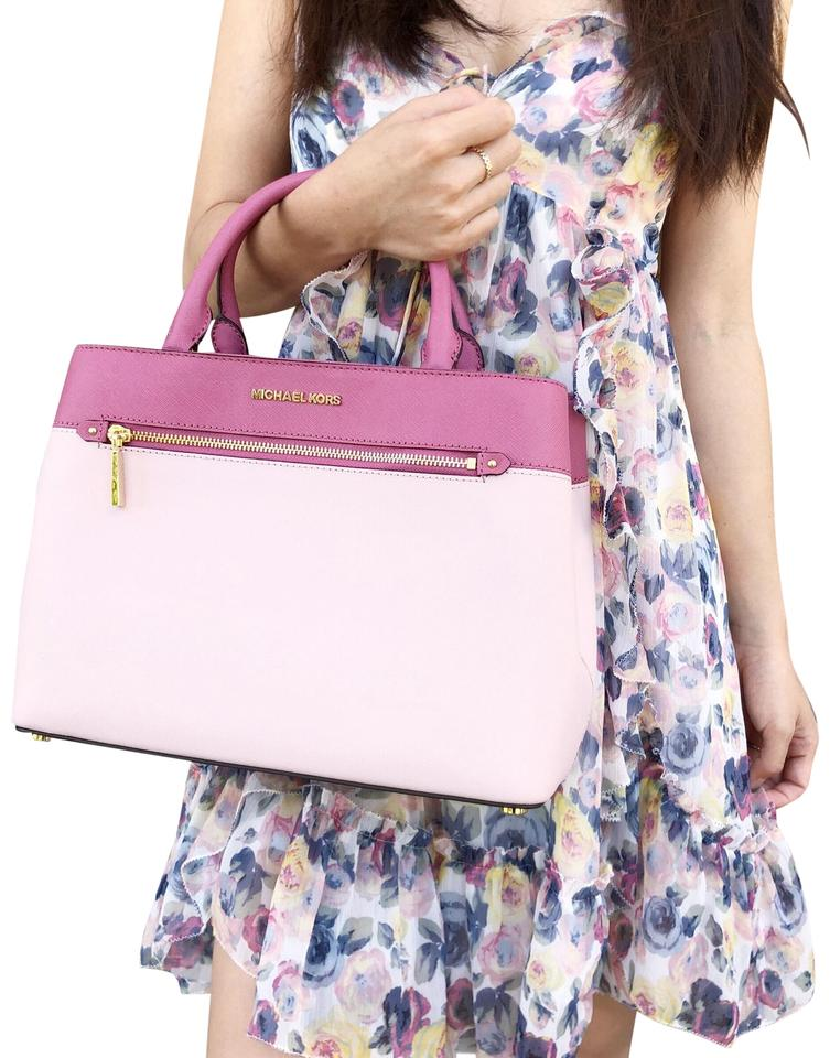 913d66df956d Michael Kors Hailee Medium Tulip Blossom Pink Leather Satchel - Tradesy