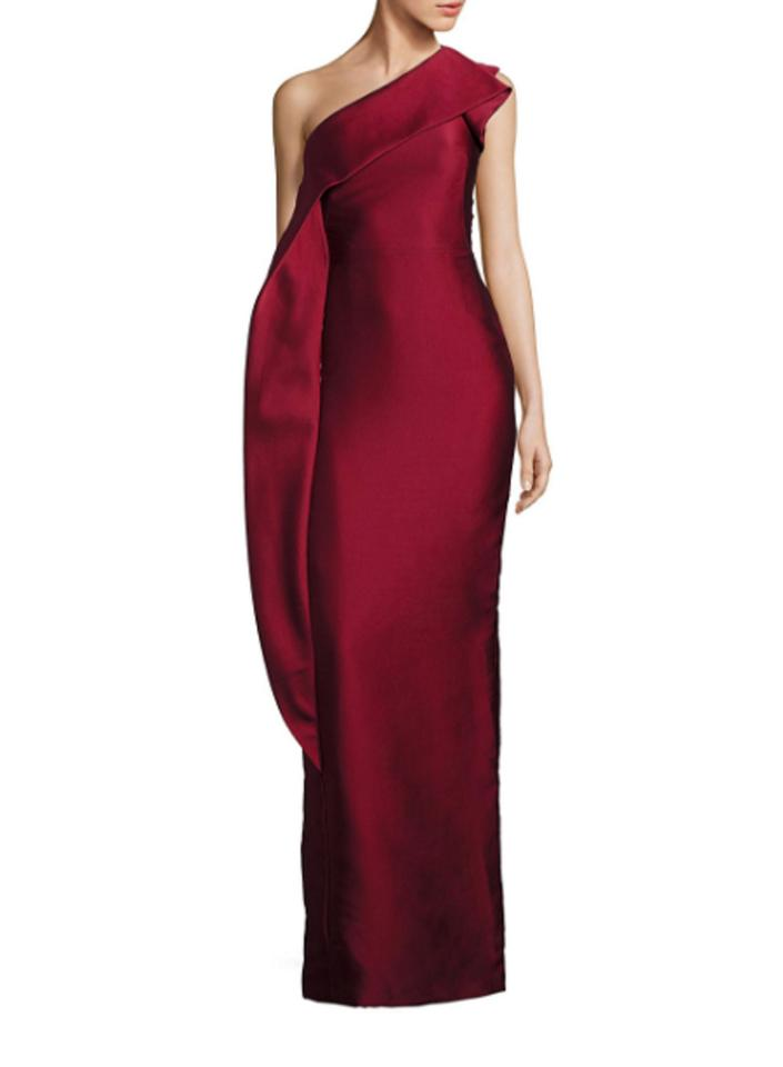 Monique Lhuillier Red Ml Women\'s One-shoulder Drape Gown Long Formal ...