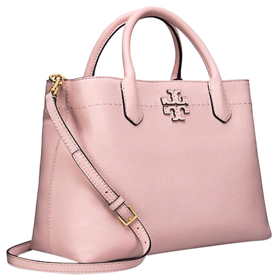 b21cea99ed8c Tory Burch Mcgraw Triple Compartment Pink Quartz Pebbled Satchel ...